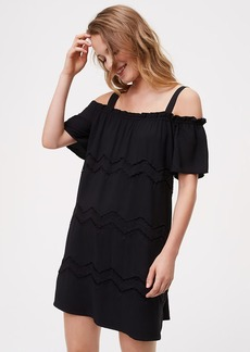 LOFT Chevron Embroidered Cold Shoulder Dress