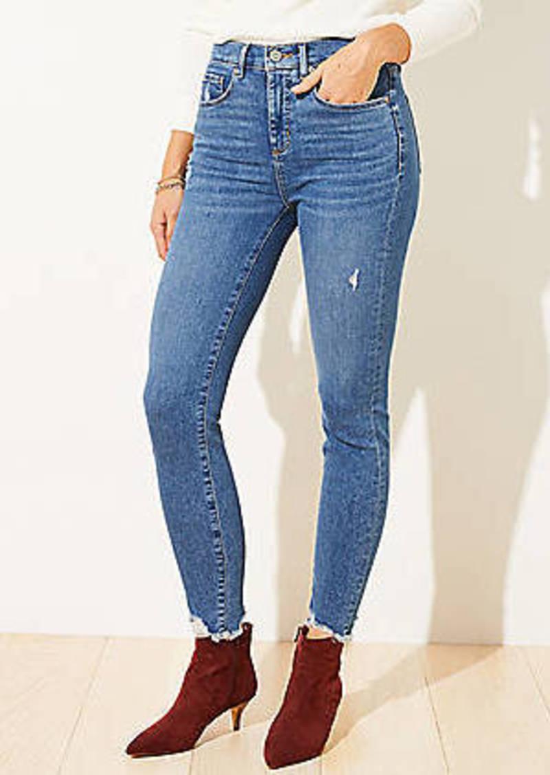 LOFT Chewed Hem High Rise Skinny Jeans in Vintage Wash