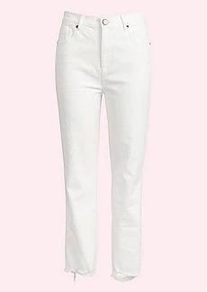 LOFT Chewed Hem High Rise Slim Pocket Straight Crop Jeans in White