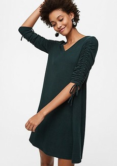 Cinched Sleeve Swing Dress