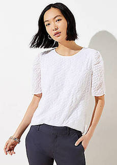 LOFT Clip Dot Puff Sleeve Top