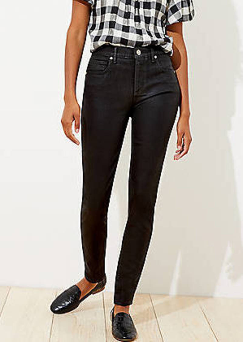 LOFT Coated Slim Pocket Skinny Jeans in Black