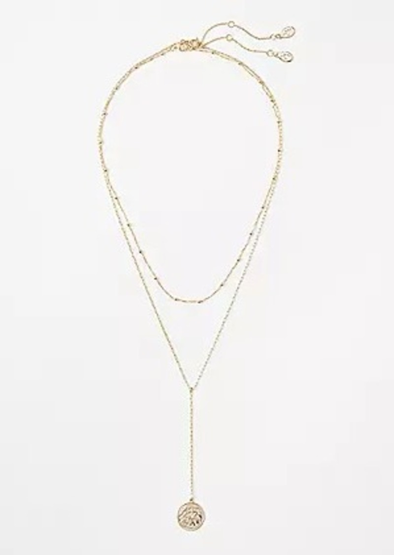 LOFT Coin Layered Y Necklace