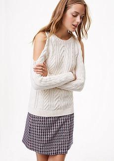 LOFT Cold Shoulder Cable Sweater
