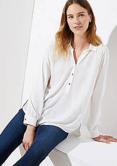 LOFT Collared Henley Blouse
