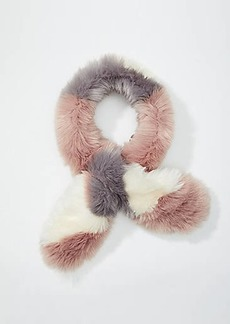 LOFT Colorblock Faux Fur Scarf
