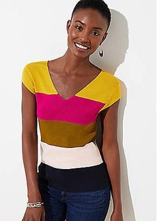 LOFT Colorblock Ribbed Cap Sleeve Sweater
