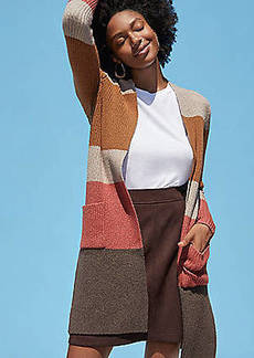 LOFT Colorblock Ribbed Pocket Open Cardigan