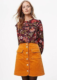 LOFT Corduroy Button Down Skirt