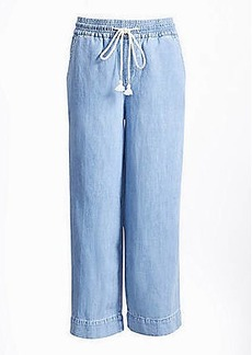 LOFT Cotton Linen Wide Leg Crop Pull On Jeans in Indigo Wash