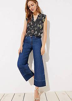LOFT Cotton Linen Wide Leg Jeans in Original Mid Stonewash