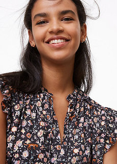LOFT Cougar Floral Smocked Ruffle Tie Neck Shell