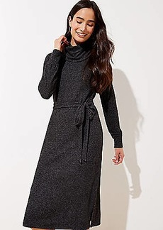 LOFT Cowl Neck Tie Waist Midi Dress