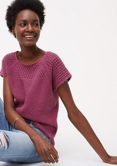 LOFT Crochet Yoke Sweater