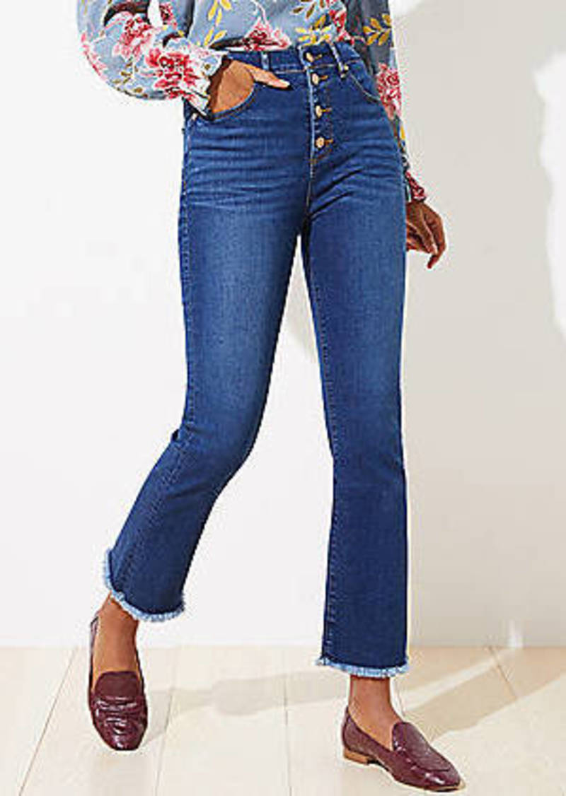 LOFT High Rise Flare Crop Jeans in Original Dark Indigo Wash