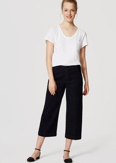 LOFT Cropped Wide Leg Jeans in Rich Dark Indigo Wash