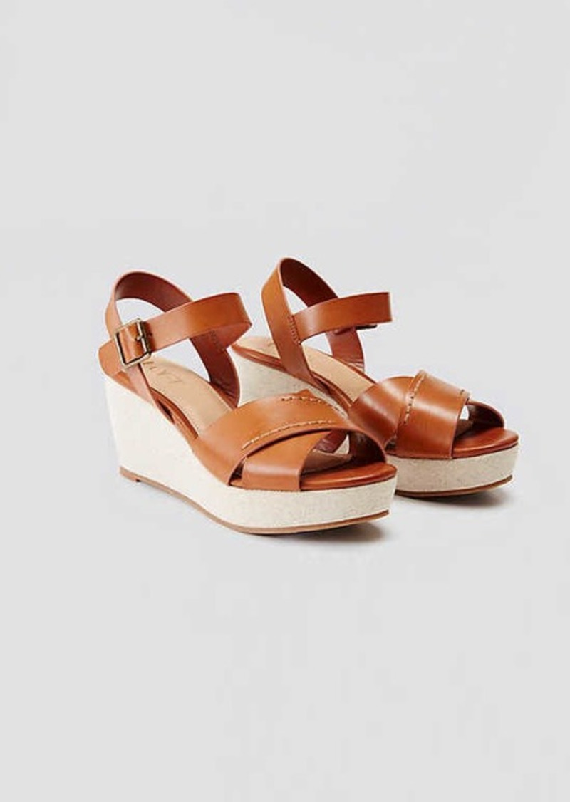 LOFT Crossover Ankle Strap Wedge Sandals