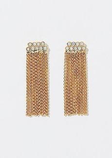 LOFT Crystal Chain Tassel Earrings