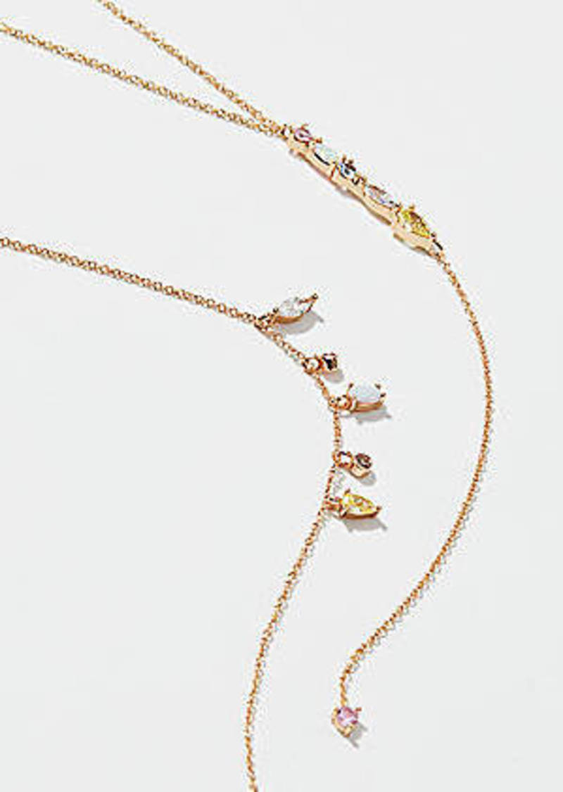 LOFT Crystal Double Layer Y Necklace