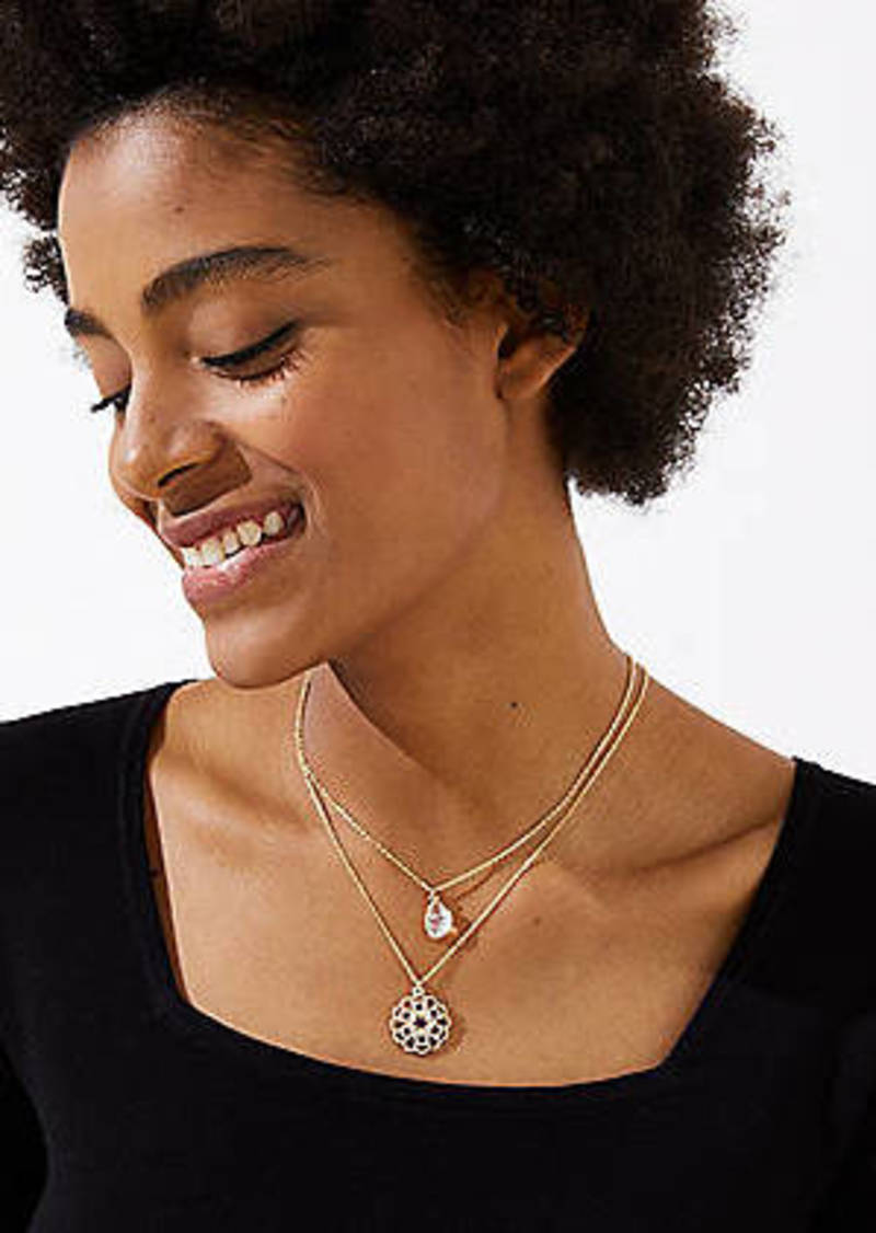 LOFT Crystal Filigree Pendant Necklace Set
