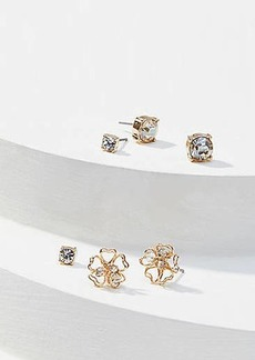 LOFT Crystal Flower Stud Earring Set