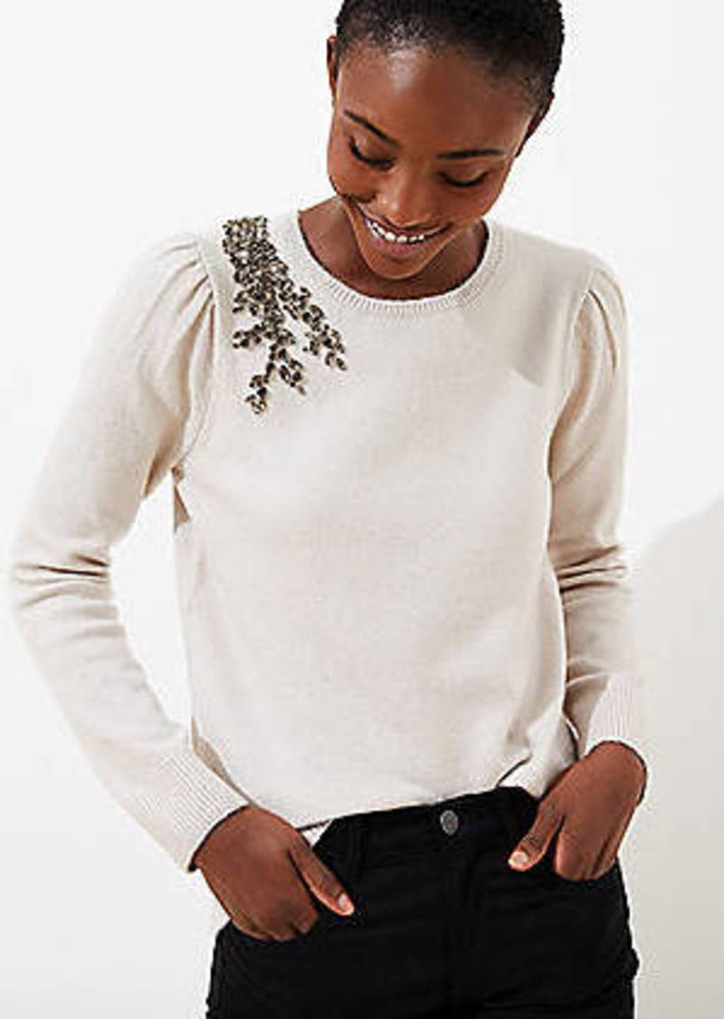 LOFT Crystal Flower Sweater