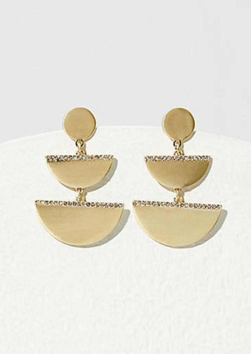 LOFT Crystal Half Circle Drop Earrings
