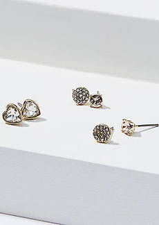 LOFT Crystal Heart Stud Earring Set