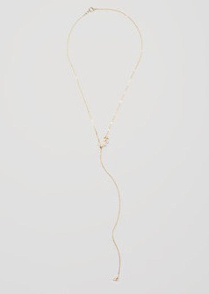 LOFT Crystal Leaf Lariat Necklace