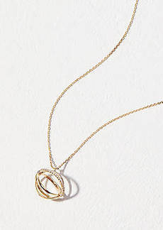 LOFT Crystal Linked Circle Pendant Necklace