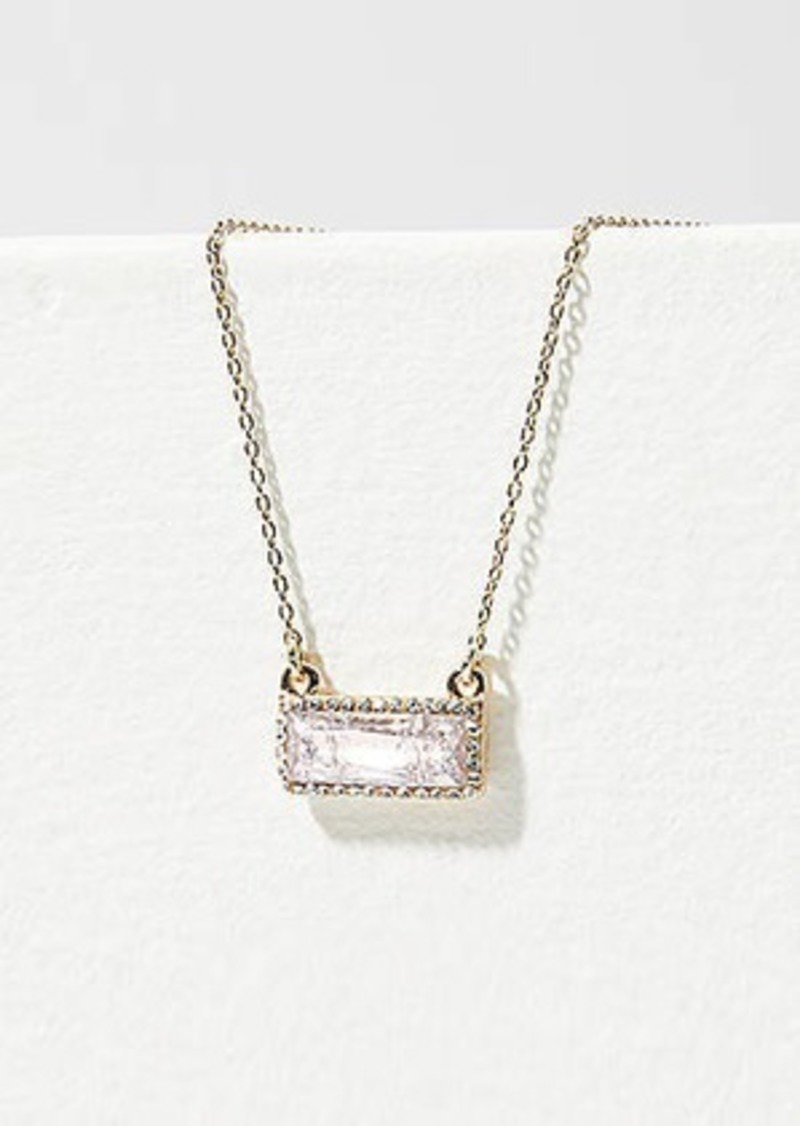 LOFT Crystal Rectangle Pendant Necklace