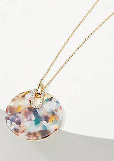 LOFT Crystal Resin Disc Pendant Necklace