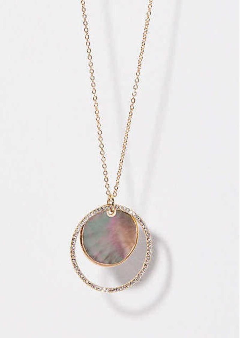 LOFT Crystal Stone Circle Pendant Necklace