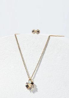 LOFT Crystal Stone Necklace & Earrings Set