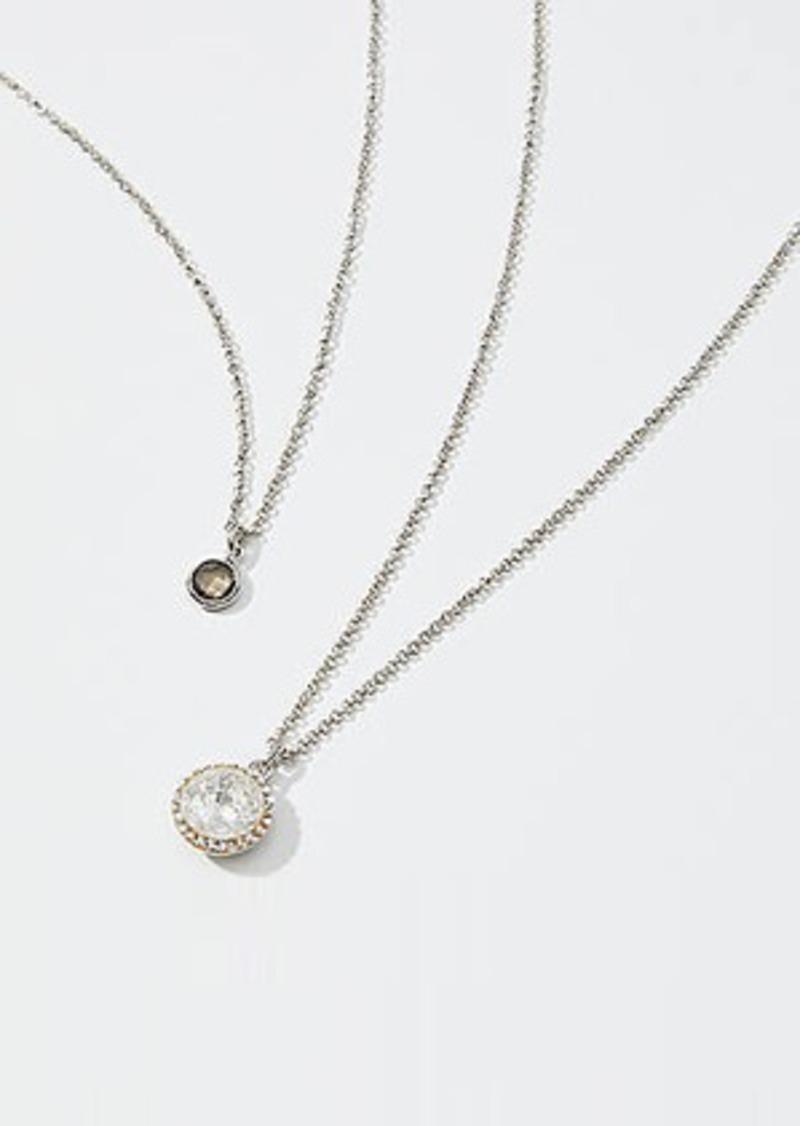 LOFT Crystal Stone Pendant Necklace Set
