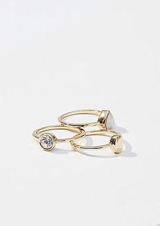 LOFT Crystal Stone Ring Set