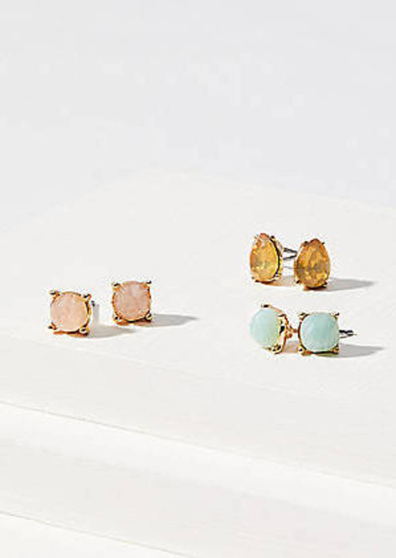 LOFT Crystal Stone Stud Earring Set