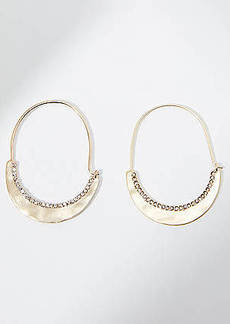 LOFT Crystal Studded Pull Through Hoop Earrings