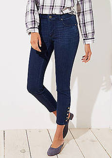 LOFT Curvy Button Cuff Skinny Jeans in Rich Mid Indigo Wash