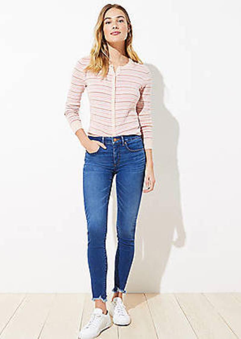 LOFT Curvy Chewed Hem Slim Pocket Skinny Crop Jeans in Botanic Blue Wash