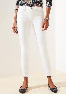 LOFT Curvy Chewed Hem Slim Pocket Skinny Crop Jeans in White