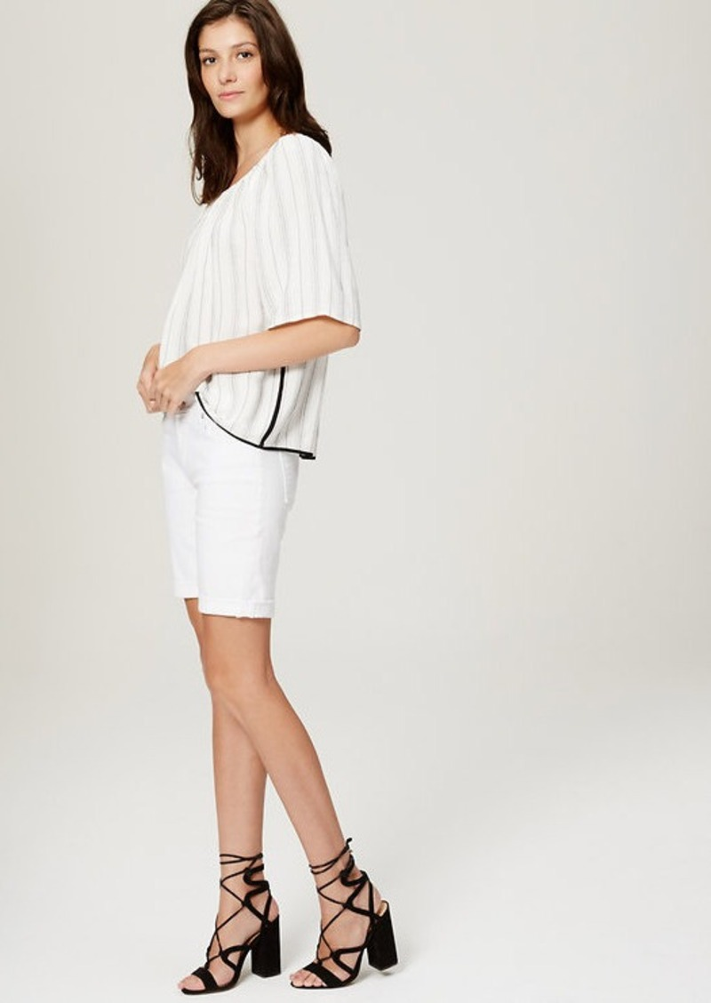 LOFT Curvy Denim Bermuda Rolled Cuff Shorts in White