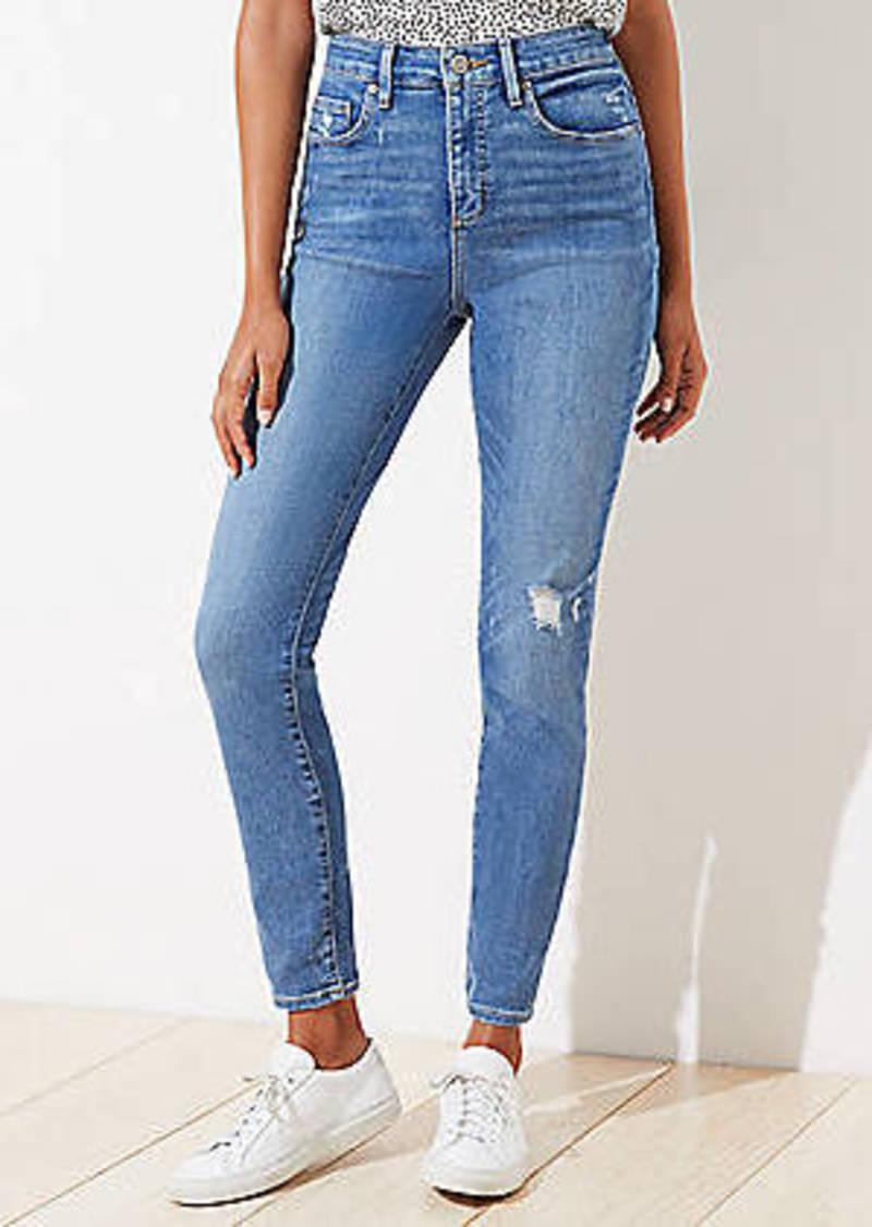LOFT Curvy Destructed High Rise Slim Pocket Skinny Jeans in Indigo Wash