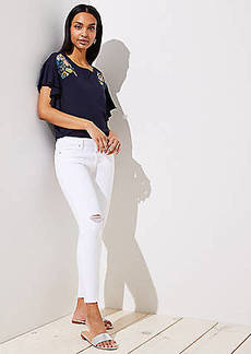 LOFT Curvy Destructed Skinny Crop Jeans in White