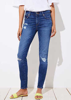 LOFT Curvy Destructed Skinny Jeans in Mid Indigo Wash