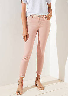 LOFT Curvy Double Frayed Skinny Crop Jeans in Pink