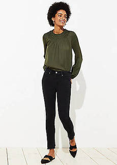 LOFT Curvy Double Frayed Soft Slim Pocket Skinny Jeans in Black