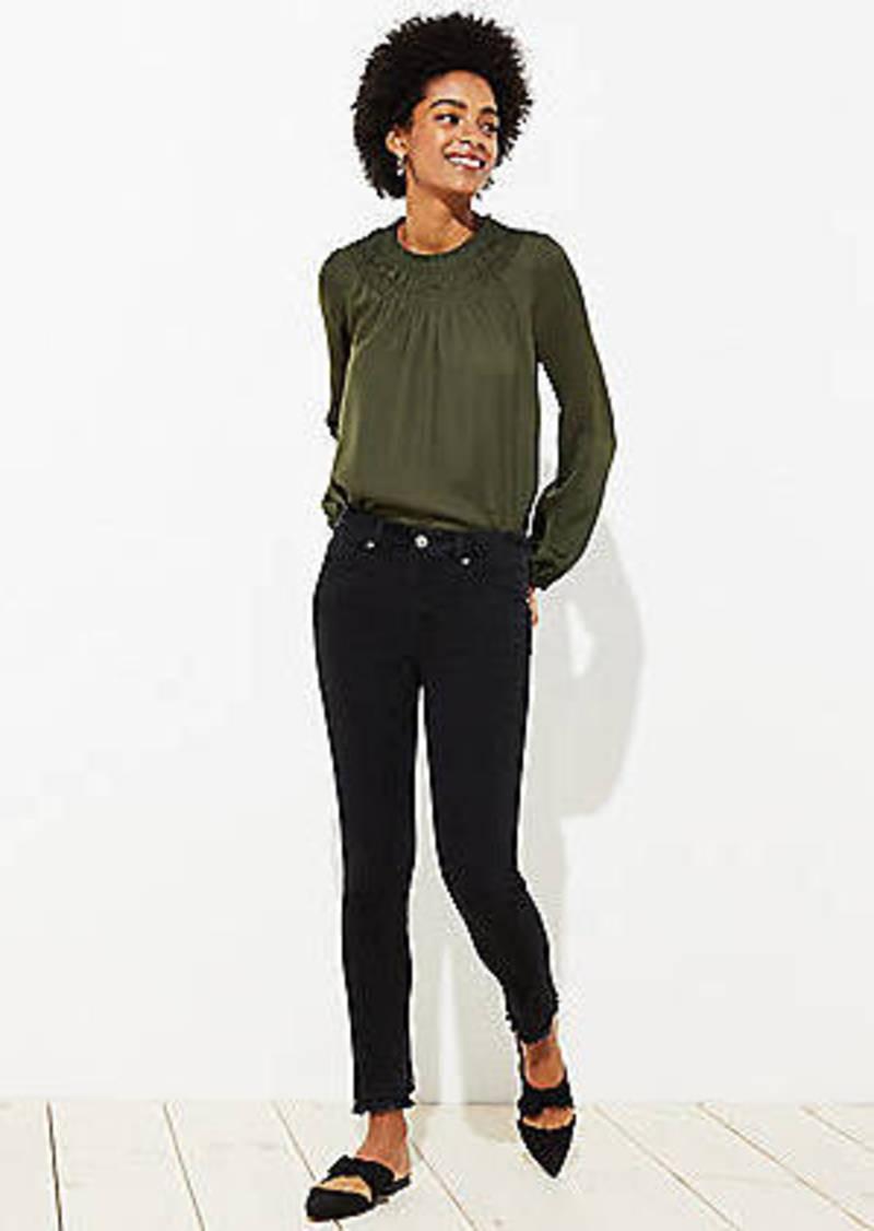 LOFT Curvy Double Frayed Soft Slim Pocket Skinny Jeans in Black