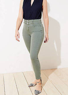LOFT Curvy Double Shank High Rise Slim Pocket Skinny Jeans in Evergreen Haze