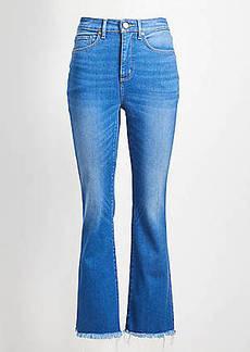 LOFT Curvy Back Slit Flare Crop Jeans in Authentic Mid Indigo Wash